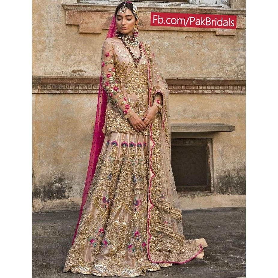 cb4fcfbebc Golden Bridal Dresses Pakistani