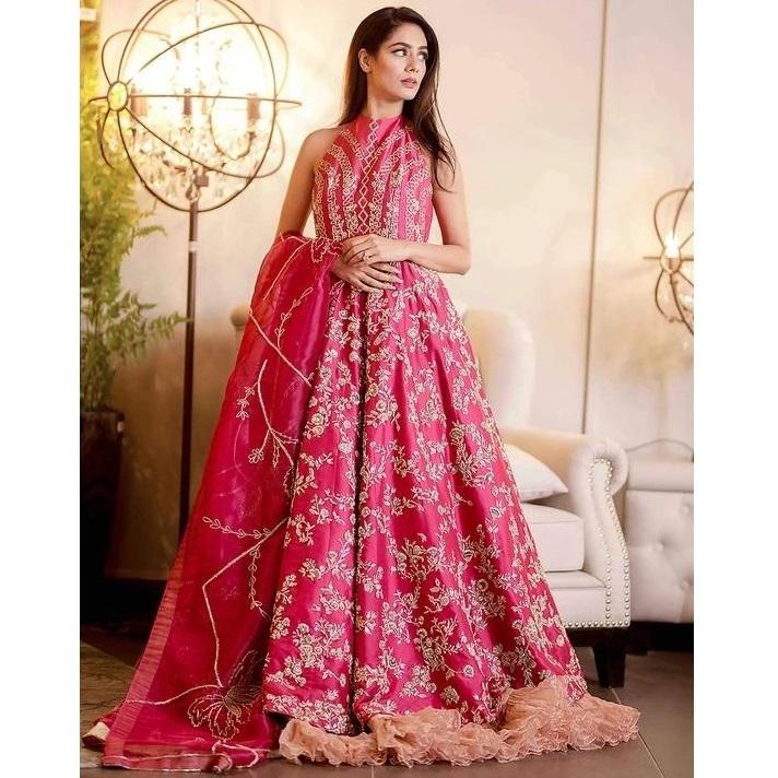 Pink Luxury Maxi Dress 719 Pakistan Bridal Dresses,Wedding Dresses Over 50 Years Old